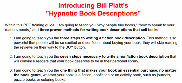 Hypnotic Book Descriptions