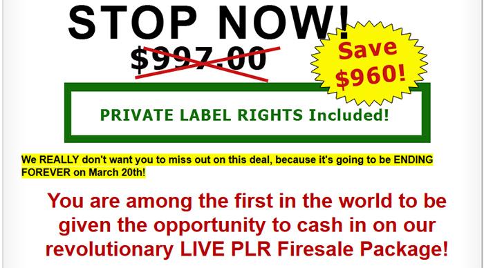 Live PLR Firesale